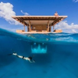An underwater hotel room