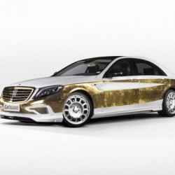 A Mercedes covered in gold